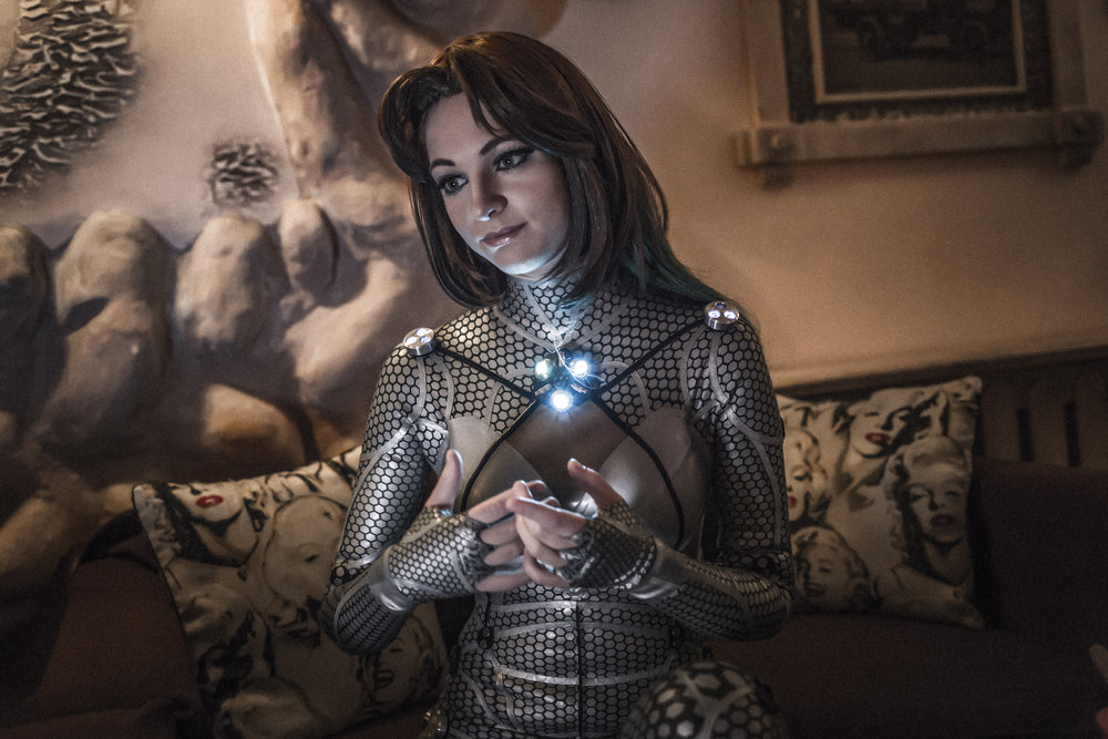 Moscow, Russian federation, December 2017. Olga Levitskaya, 24 years old trans-humanist and neuro-biologist, after a fundraising event hold in the cosmonauts' museum, to support the development of the cybersuite. The so-called CyberSuit will help patients rehabilitate injuries, including cerebral hemorrhage.