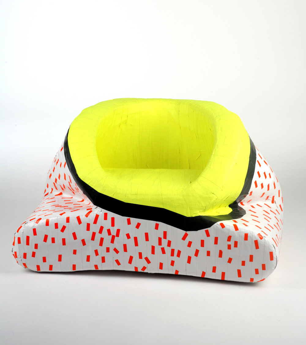 top to bottom Tape Chairs 1/2/3  Foam mattress, cardboard & gaffer tape