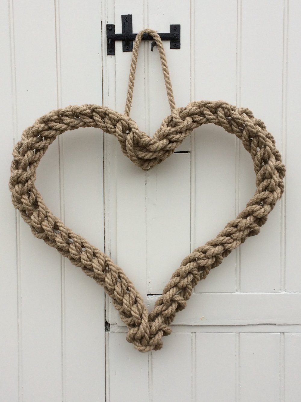 handmade rope knot heart wreath .JPG