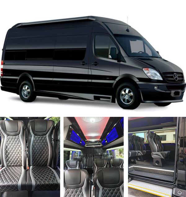 LUXURY SPRINTER 14 - Sprinter Van14 MaxAre you looking for a Luxury Sprinter with maximum comfort and more? You found it. This vehicle offers all of the amenities of a traditional limousine with added space and style. The large sliding entry door provides easy entry and exit, and the height allows for passengers to stand and walk to their seat. The interior is elegant and the lighting is perfect. Don't wait! Book now!CALL RESERVATIONS: 1-800-954-5466