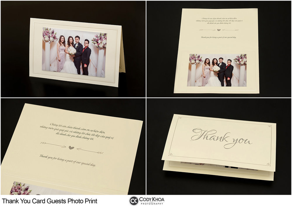 "ADD-ON SERVICE: THANK YOU CARD GUESTS PHOTO PRINT        $400 - Instant 4x6 in. print of reception's entrance photos (Bride & Groom with guests).The photos will be attach onto a half-fold card with ""Thank You"" text. A nice souvenir gift for the guests."