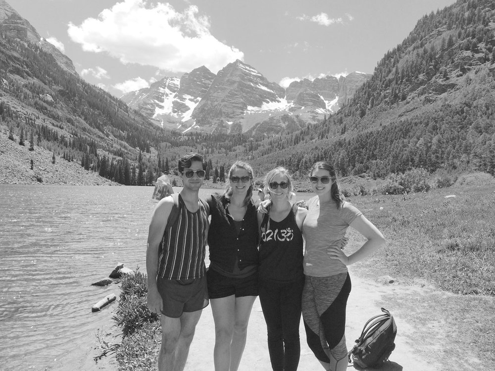 Hiking with her students in Aspen