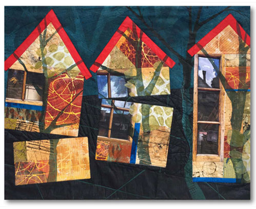 "So it Will Not Break in Two"" Textile Collage/Art Quilt, 42.5"" x 32.5"""