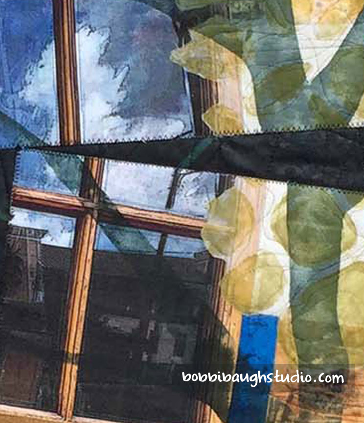 "Detail of windows: digital image on fabric, collaged with other fabrics using surface design techniques. From ""So It Will Not Break in Two,"" art quilt. This work is on my web site in the ""Home is What You Remember"" Gallery,   HERE."