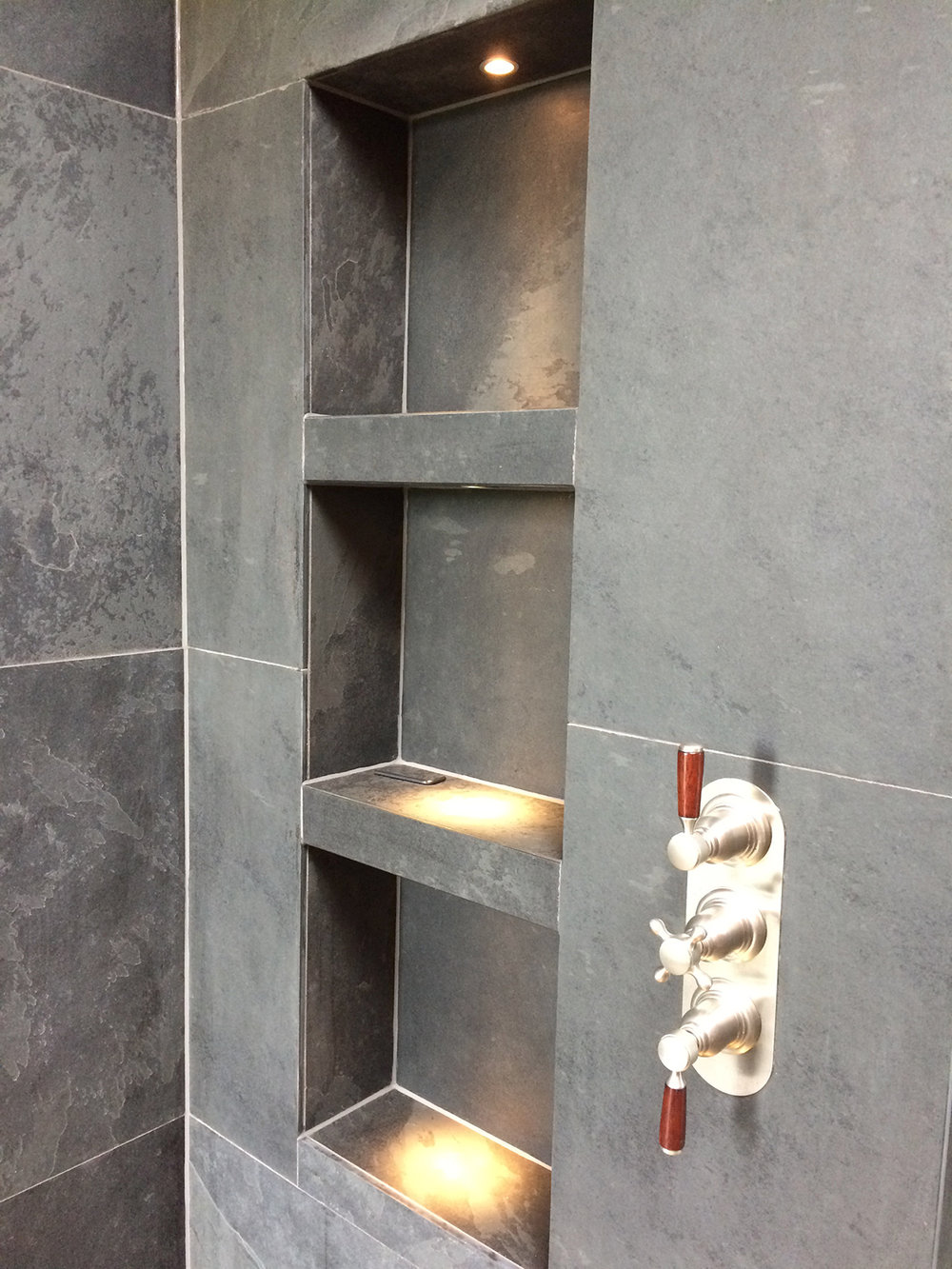 Brazilian tiles bathroom shelves