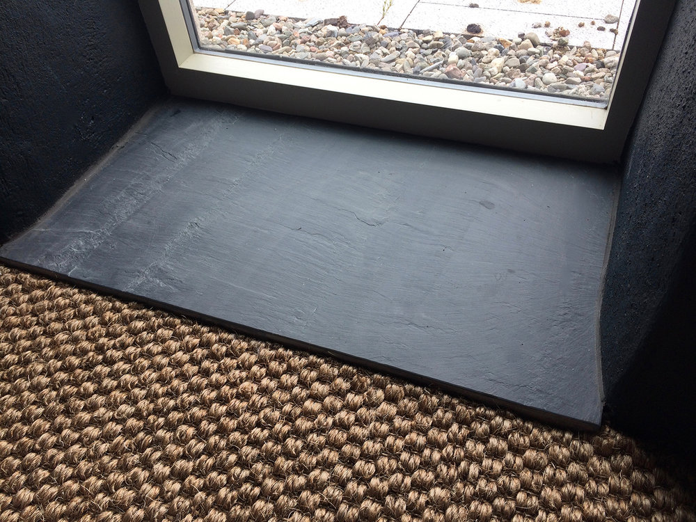 Internal riven Welsh slate door step