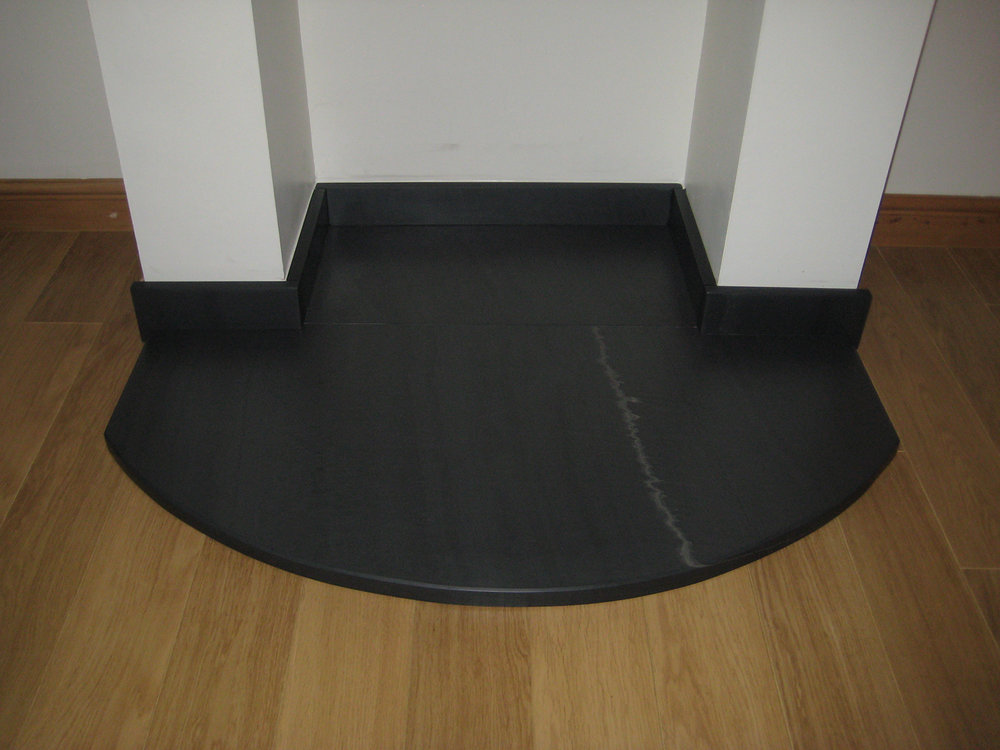 Polished Welsh slate curved hearth