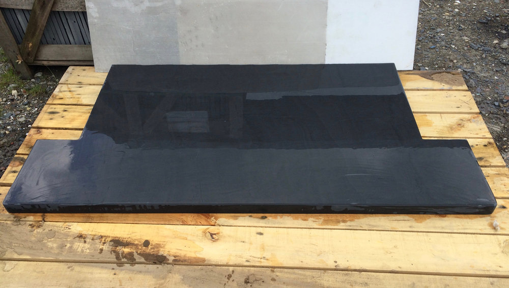 Polished T shaped Welsh slate hearth