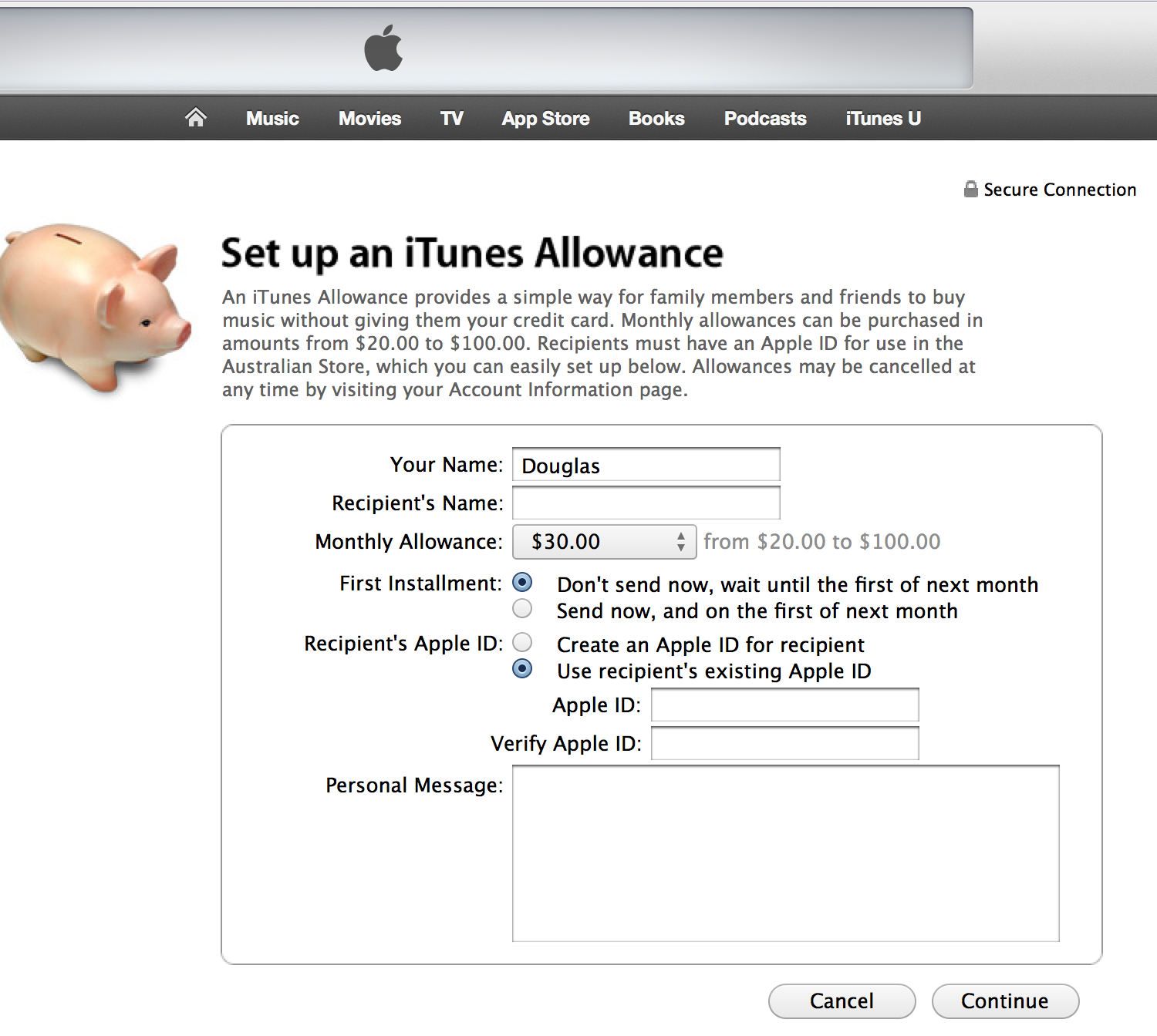 displaying the iTunes allowance window