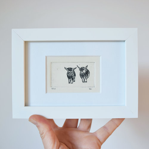 Small highland cows collagraph print in a white frame | Sally J ...