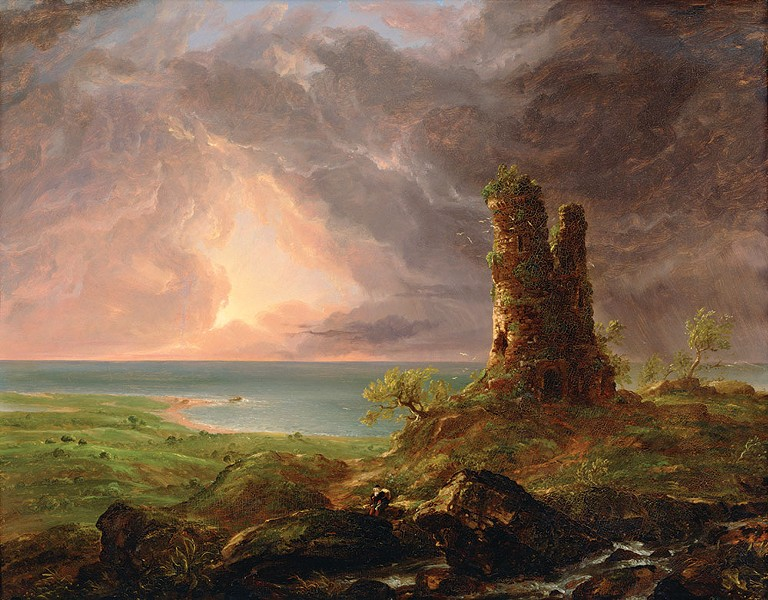 Ruined Tower by Thomas Cole, now on view at the exhibit in Catskill, NY