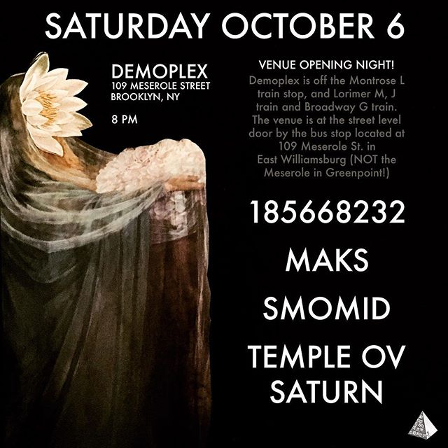 I am performing at the opening of Demoplex, a new venue in East Williamsburg on Saturday October 6. I am also performing at H0L0 on 10/22 and details will be announced soon about 10/27 at Hart Bar. I'm also DJing on 10/20 at Garner Art Center #templeovsaturn ✨ @templeovsaturn ✨ #popejoanii #joanpope