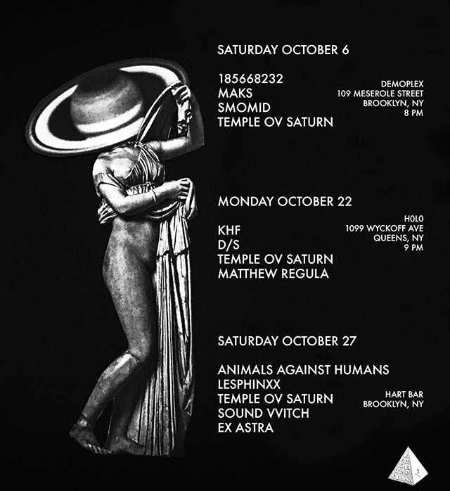 Upcoming Shows #templeovsaturn ✨ I'm also doing a DJ set on 10/20 at Garner Art Center for Autumn Electronix II #popejoanii