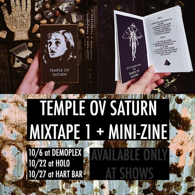 A mix cassette of new and old material plus some of the original loops that I sample to create my songs. A limited edition of 10 tapes plus mini-zine with some of my art. Available only at shows. ✨ templeovsaturn.com for more info about when I'm playing. #templeovsaturn #joanpope
