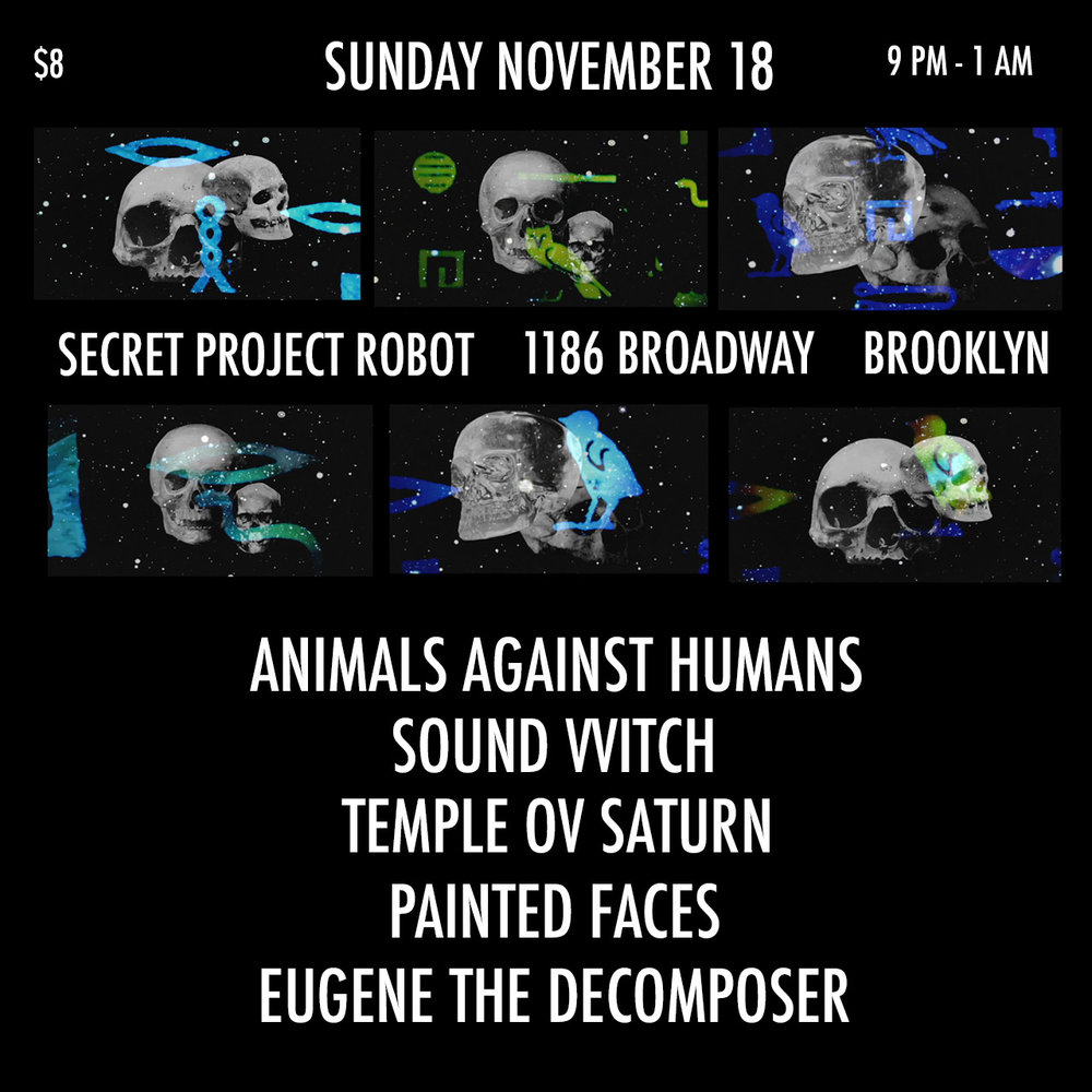 Flyer for 11/18/18 show at Secret Project Robot in Brooklyn