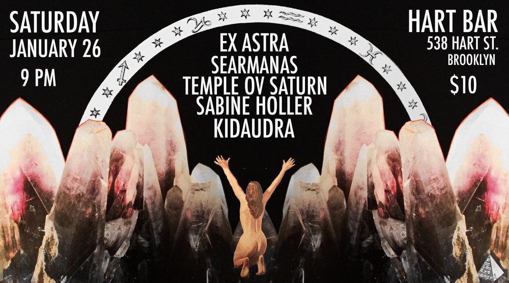 Saturday, January 26 at Hart Bar in Brooklyn: Temple ov Saturn with Ex Astra, Searmanas, Kidaudra, Sabine Holler