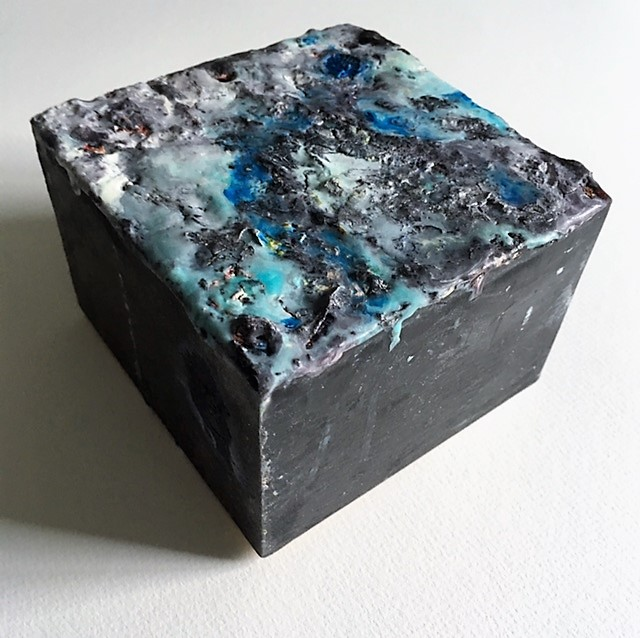 What Remains (2013)  .The sides were deliberately painted and scraped to look as if the cube had been recently excavated.