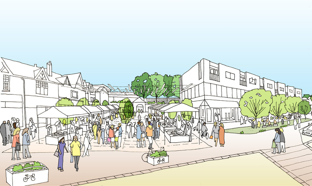 Conceptual design of a market square on Station Road East