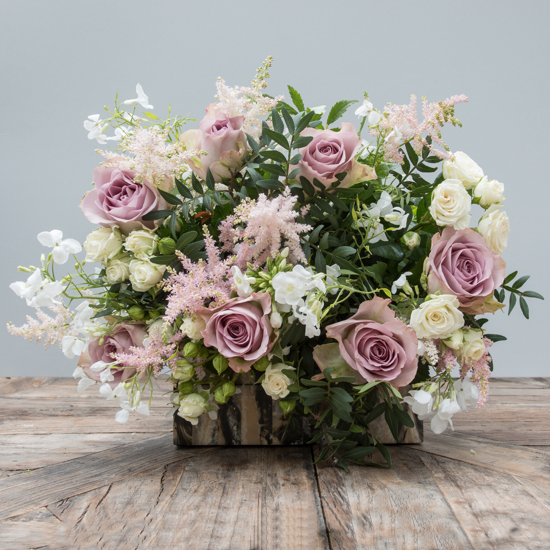 pink rose & astilbe bouquet — the secret garden
