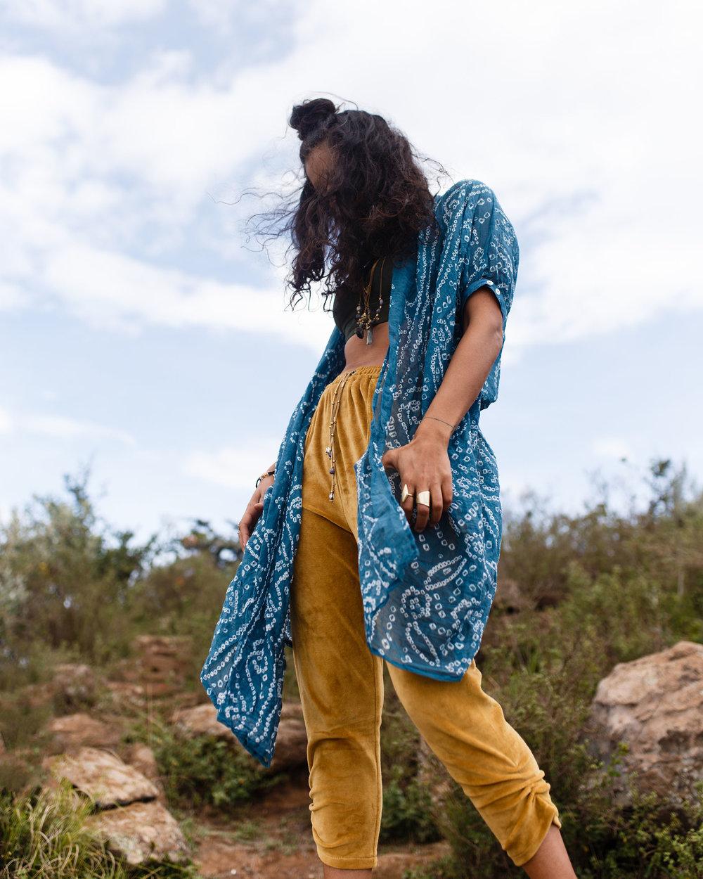 Bandhini Kimono, $60, Velvet Joggers, $100