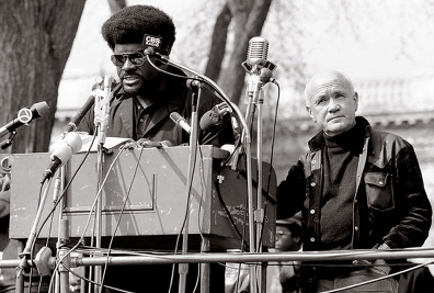 Jean Genet with unidentified Black Panther Party leader, 1970