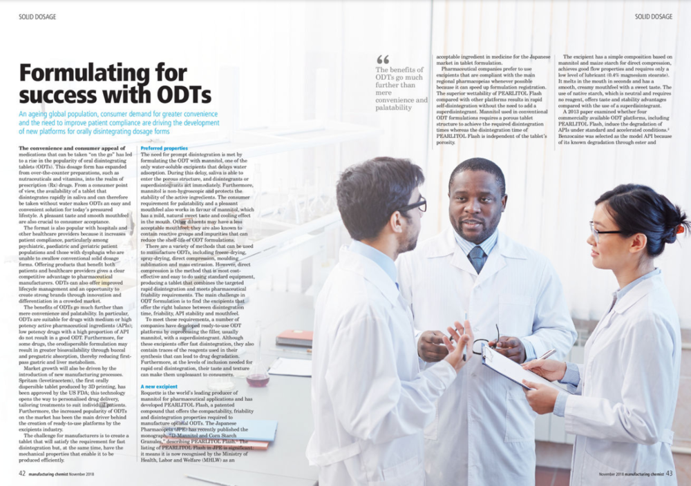 Manufacturing Chemist article on orally disintegrating dosage forms for Roquette. November 2018.