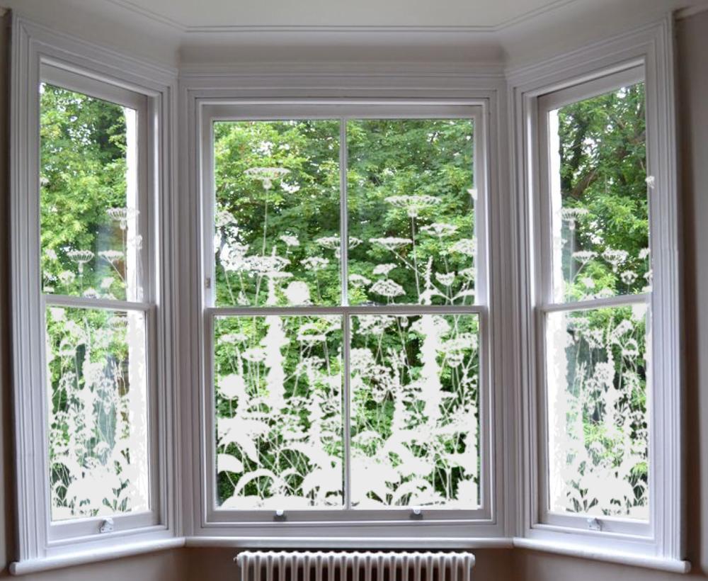 Bay window displaying Meadow design window film