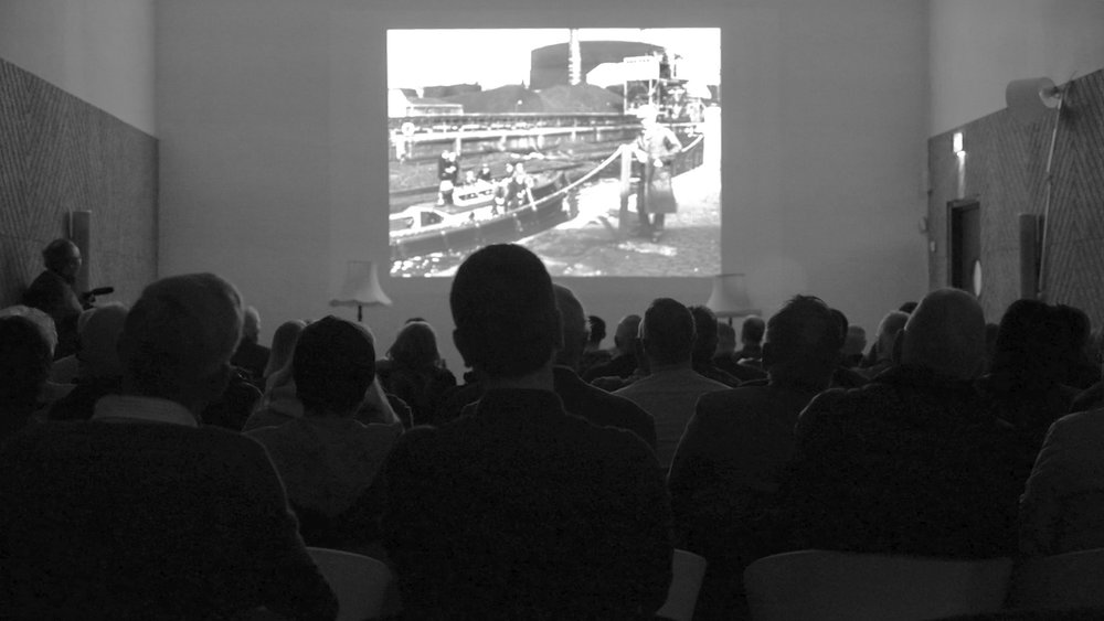 Audience watching the New Notions Original film 'Boat Builders' in our cinema space in Ormeau Baths on October 27 2017.