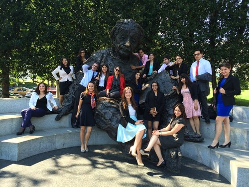 Young science diplomats visit the Einstein Memorial outside the U.S. Department of State | Courtesy of Marga Gual Soler