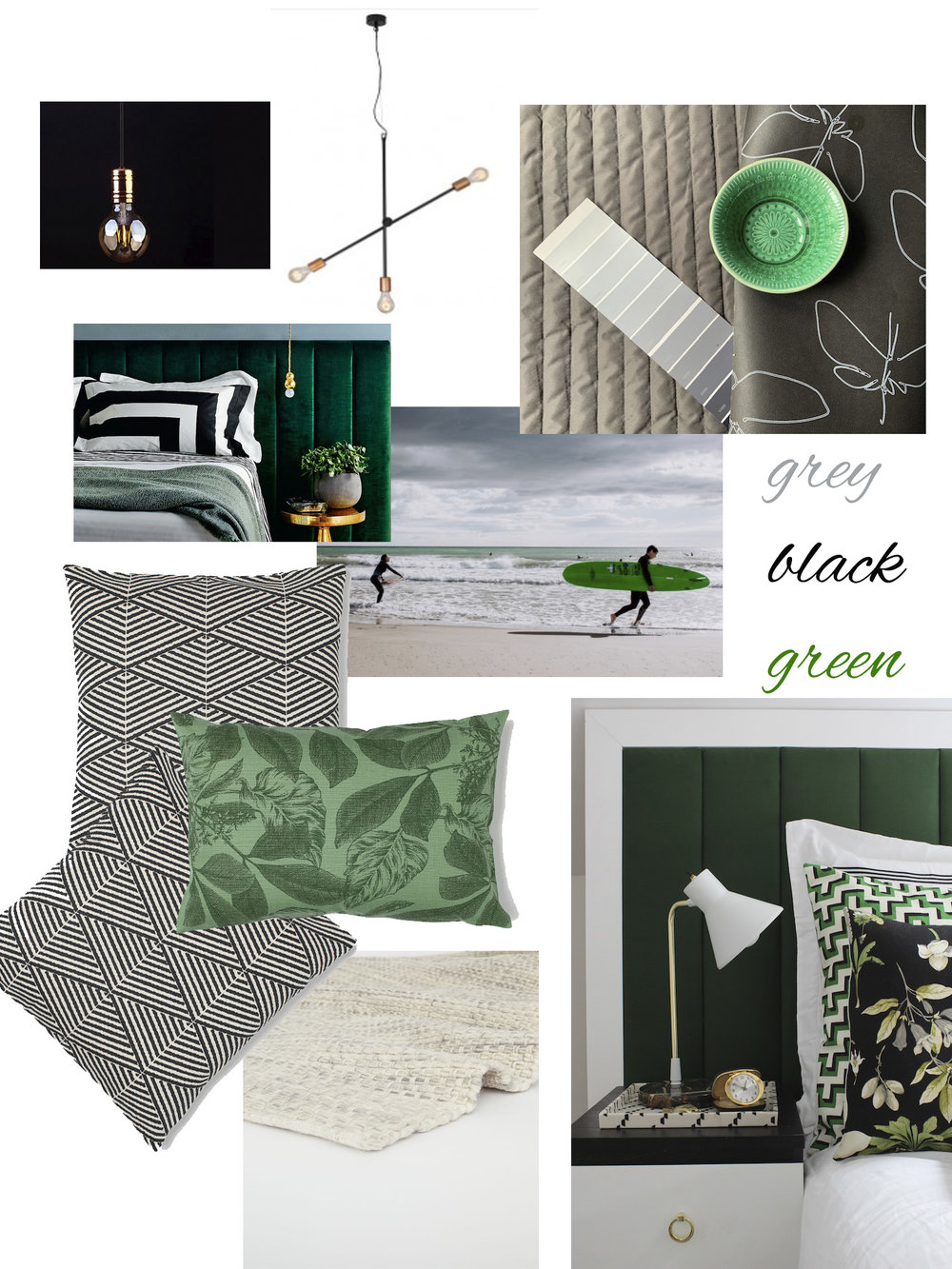 Moodboard for a guest bedroom.