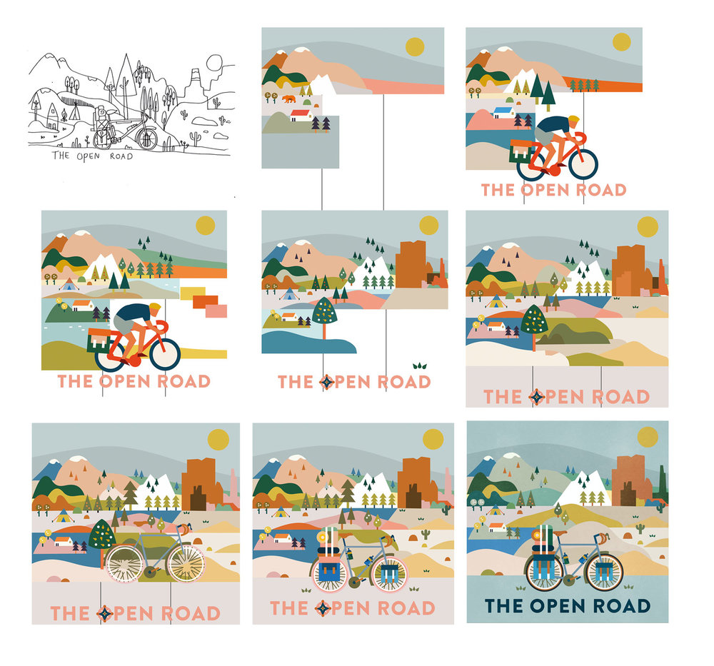 The Open Road board game cover art design