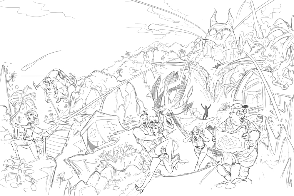 Fireball Island box cover - Initial sketch concept art