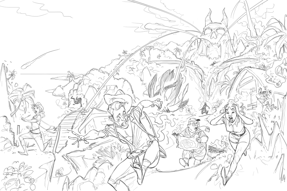 Fireball Island box cover - Second sketch concept art