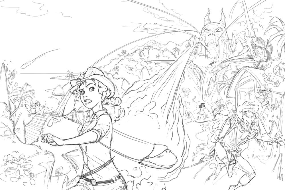 Fireball Island box cover - Final sketch concept art