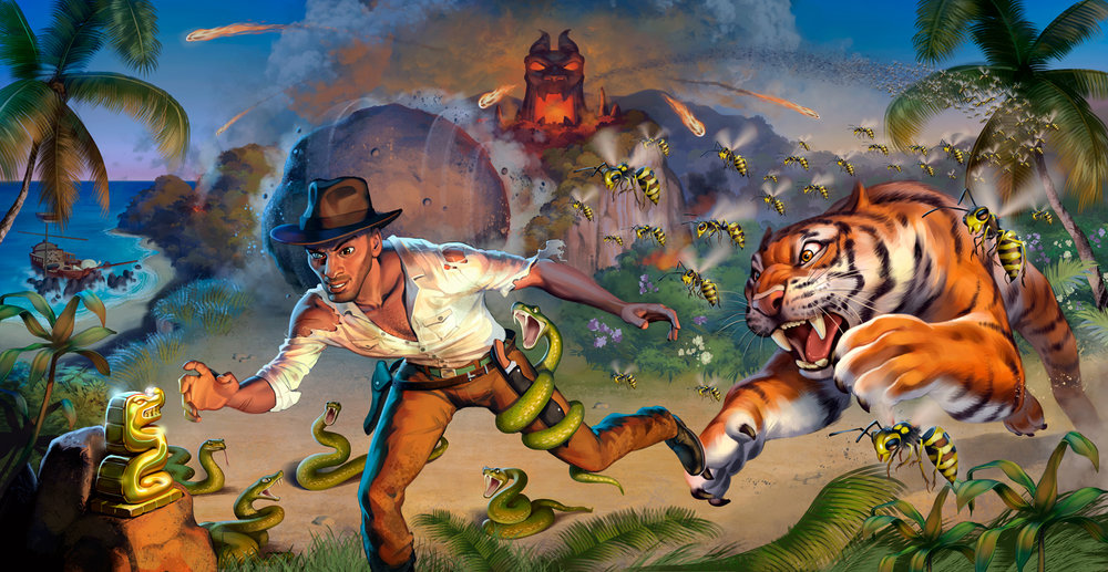 Fireball Island - The Last Adventurer and Crouching Tiger, Hidden Bees Expansions complete box art