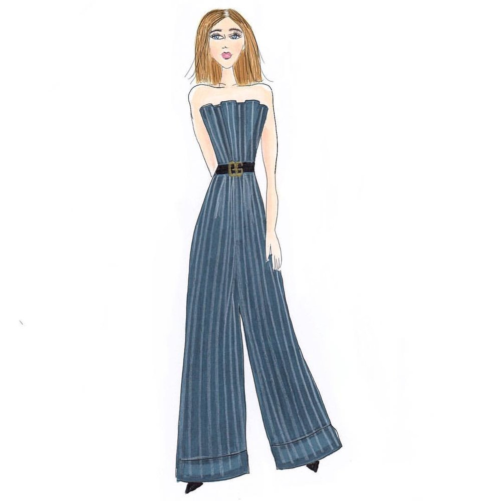 Can we talk about jumpsuits for a minute? Love them. Seriously. Madly. And this one from @jacquemus is to die for. ❤️Gah! Styling with inspo from @blaireadiebee and belting it with the ever so popular @gucci belt. Do you love rocking a good jumpsuit or are they just not your thing? Do tell!  .  .  .  .  #fashionillustration #flashesofdelight #sketchbook #sketch #denimandinkdesign #copicmarkers #copic #fashion #bloggerstyle
