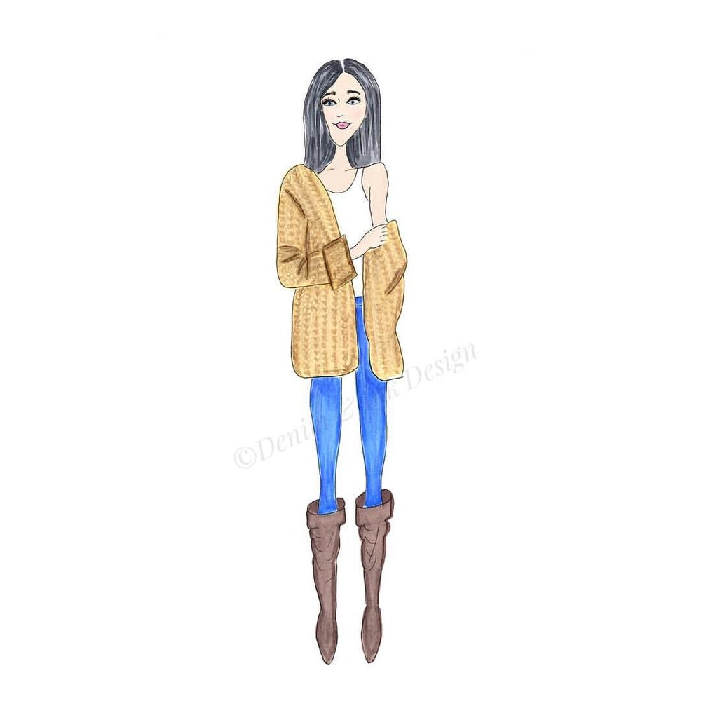 Chunky knit and boots. Not exactly spring attire. Mother Nature isn't cooperating at the moment so this is what today needs.  .  .  .  #denimandinkdesign #fashionillustration #sketchaday #flashesofdelight #copic #copicmarkers