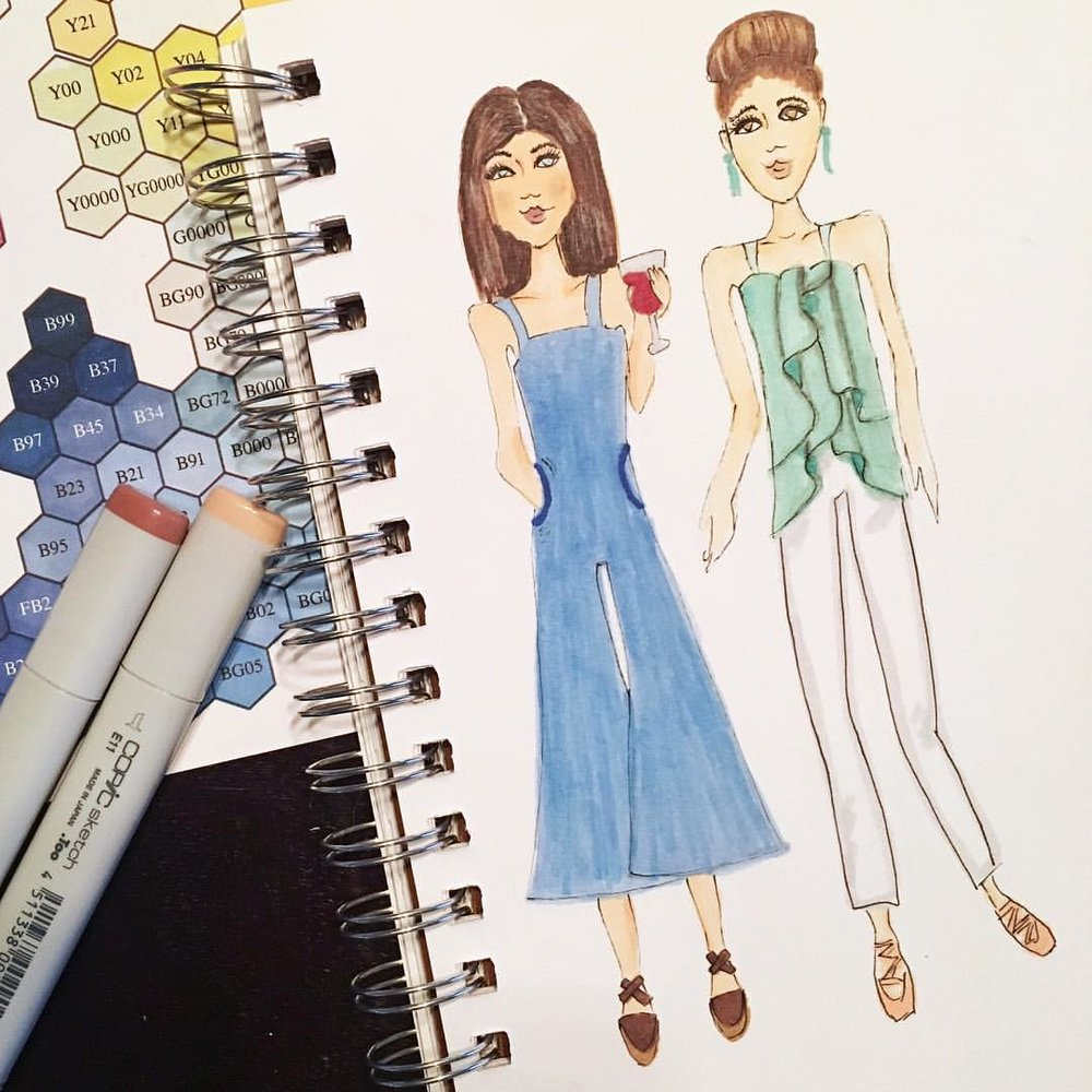 The rainy day has me dreaming of summer and afternoons on the patio with some wine.  Who's with me? Also, both of these girls are wearing outfits I'd totally rock once it gets warmer out. Especially those overalls 😉  .  .  .  #denimandinkdesign #copic #sketch #fashionillustration