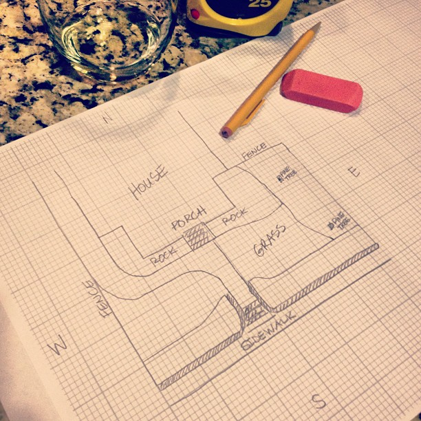 Sketching out existing layout to plan for new #diy #landscape