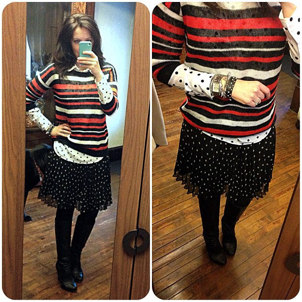 {dress} dots on dots   #wiw #personalstyle #ootd #stripes #denimandink #polkadots