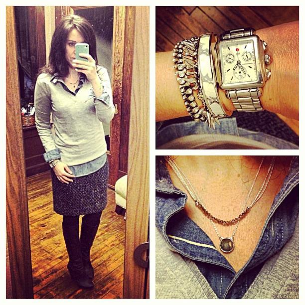 {dress} grey #ootd #wiw #personalstyle #jcrew #jcrewaddict #stelladotstyle #tweed #uniform #sweater #skirt