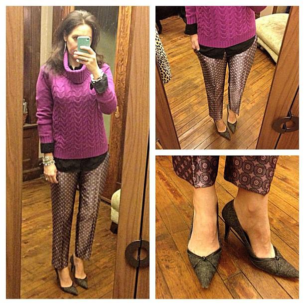 {dress} fancy pants #ootd #wiw #personalstyle #jcrew #pants #bananarepublic #sweater #stelladotstyle #sweaterweather #silk #printedpants