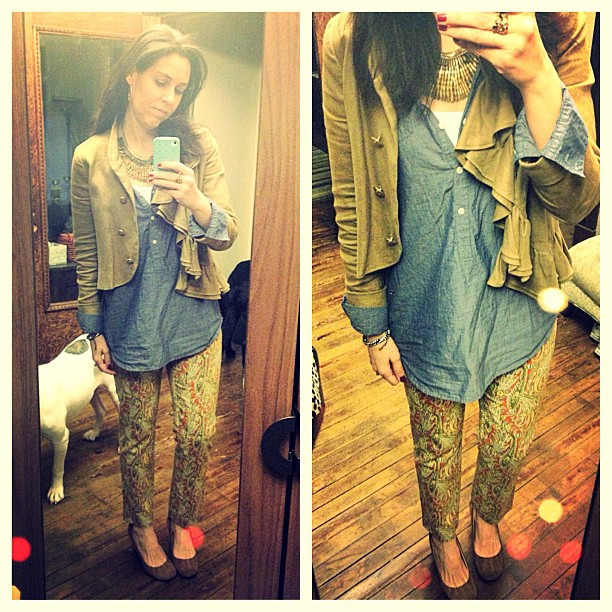 {dress} paisley #ootd #wiw #personalstyle #anthropologie #pants #jacket #jcrew #chambray #stelladotstyle #cropped #paisley