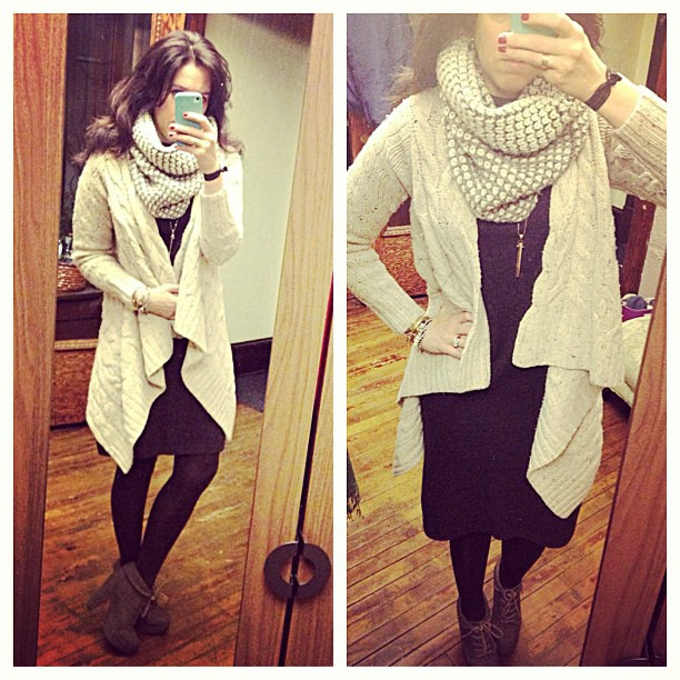 {dress} knitted #ootd #wiw #personalstyle #sweaterweather #vintage #dress #anthropologie #sweater #zara #scarf