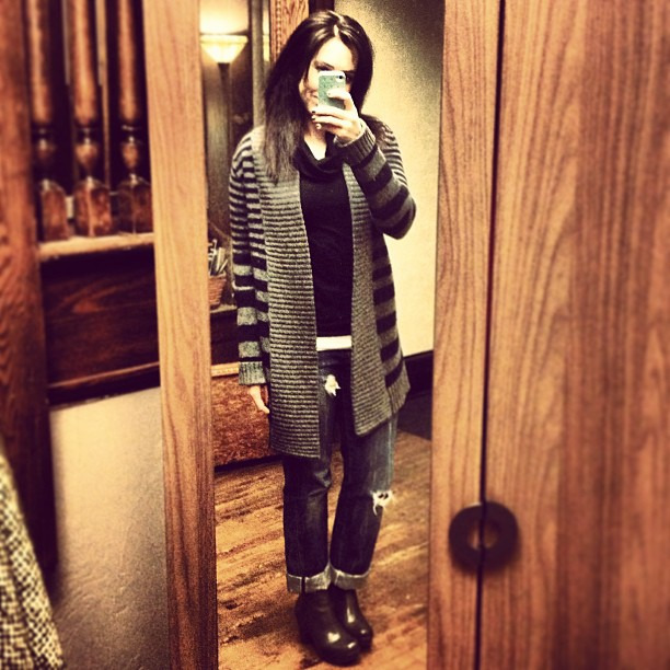 {dress} sweater coat, turtleneck + jeans = winter uniform #ootd #wiw #personalstyle #bcbg #jcrew #korkease