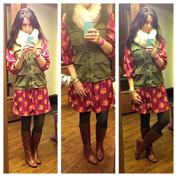 {dress} Vested #ootd #wiw #personalstyle #jcrew #loft #targetstyle #fur #floral