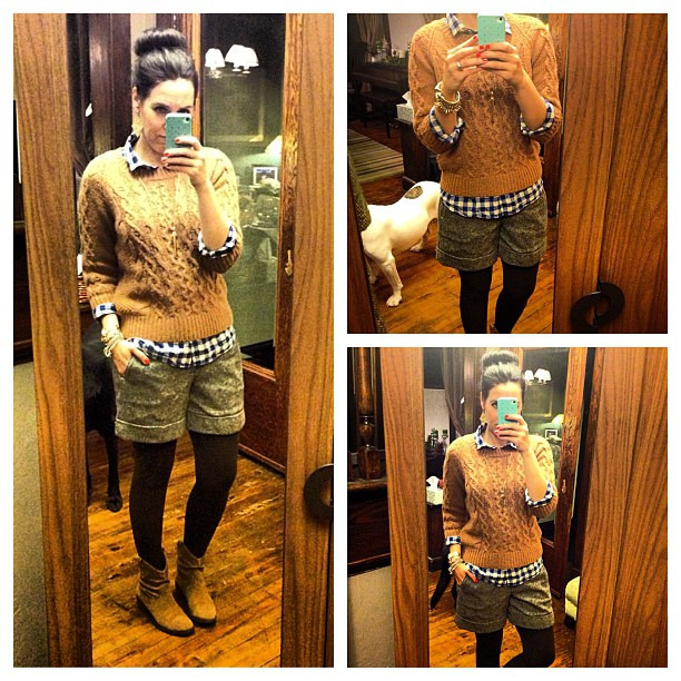 {Dinner Party} #ootd #wiw #lategram #jcrew #booties #shorts #tweed