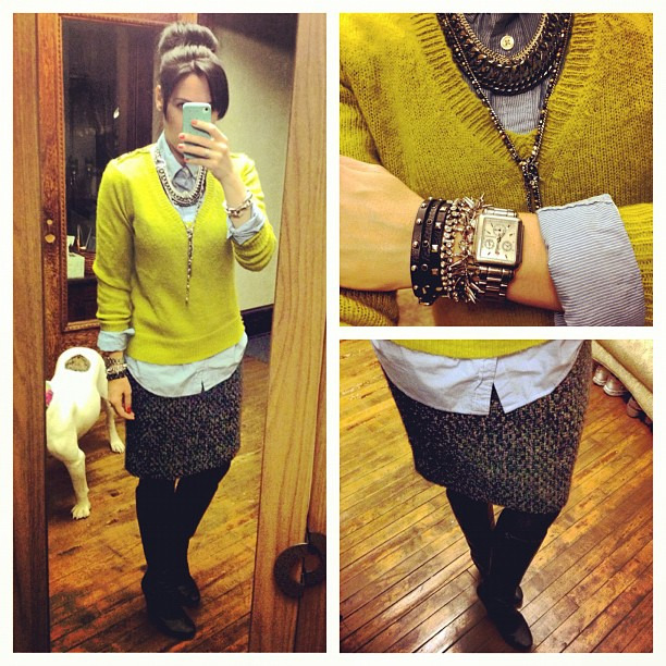 Another day, another skirt/sweater combo #uniform #ootd #wiw #jcrew #stelladotstyle #sockbun