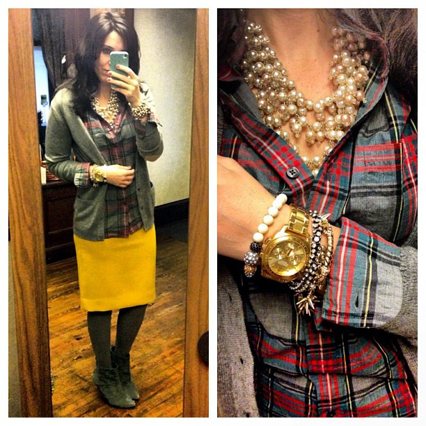 {Today} Plaid and pearls #ootd #wiw #stelladotstyle #jcrew