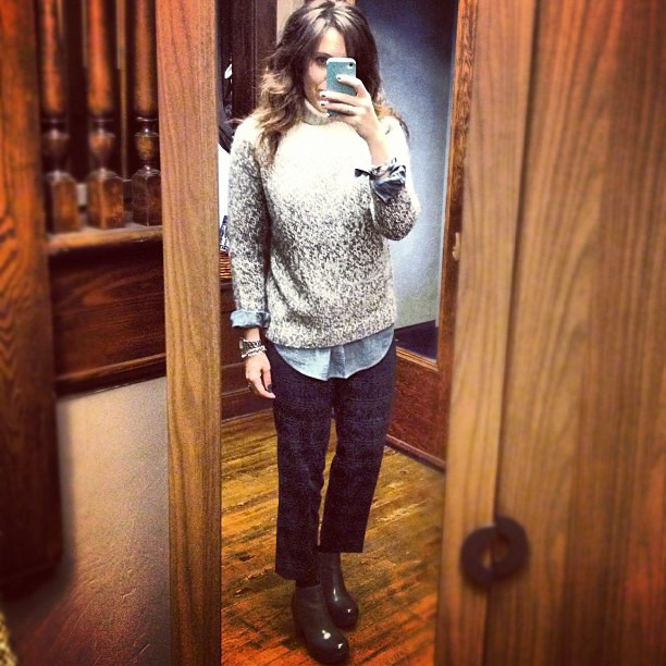 Quick snap as I ran out the door this am #rushed #ootd #wiw #jcrew #korkease #cozy #plaid #chambray